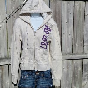Zipup Hoodie Sweatshirt in Cream, Gray & Purple